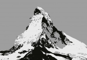 Fototapeta Papierowa 5015-4P-1 MATTERHORN ILLUSTRATION BLACK AND WHITE