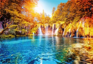 Fototapeta Papierowa 5030-4P-1 Waterfall and Lake in Croatia