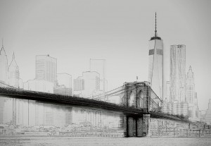 Fototapeta Papierowa 5018-4P-1 NEW YORK ART ILLUSTRATION BLACK AND WHITE